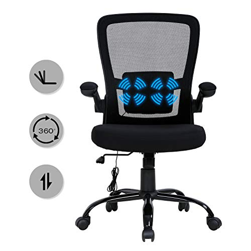 HCB Office Chair Mesh Desk Chair Ergonomic Computer Chair with Lumbar Support Massage Pillow Flip Up Armrest Mid Back 360° Rolling Swivel Adjustable Height Meeting Chairs (Black)