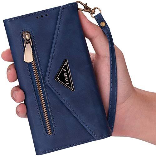 Qjuegad Kompatibel mit Handykette Samsung Galaxy S7 Edge Hülle Leder Handytasche,Schultertasche für Smartphone Handyhülle Reißverschluss Brieftasche Geldbörse mit Kordel Bookstyle Klapphülle,Blau