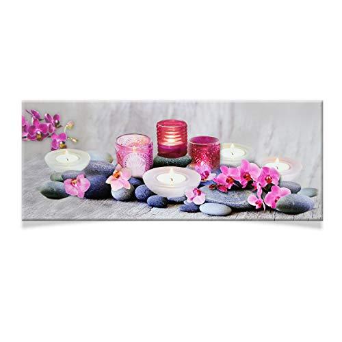 DRULINE LED Wandbild | Leinwand | Bild | Beleuchtet | Batteriebetrieben | Fotografie | Indoor | Teelichter, Steine & Rosa Blüten | Keilrahmen | 100 x 40 x 2 cm