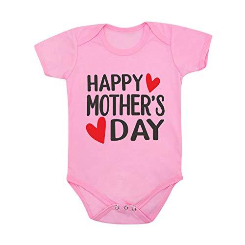 LABIUO Combinaison Bébé Fille Doux Coton Pyjama Manche Courte Bonne Fête des Mères T-Shirt Barboteuse Combinaison Vêtements Bébé Pas Cher pour 0-24 Mois