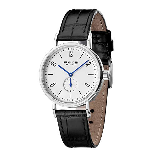FEICE Armbanduhr Damen Bauhaus Design Runde Analog Casual Quarzuhren mit Lederarmbänder 32mm...