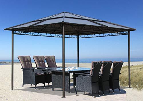 QUICK STAR Metall Garten Hardtop Pavillon 3x3m Doppelstegplatten Polycarbonat Dach Partyzelt Pergola