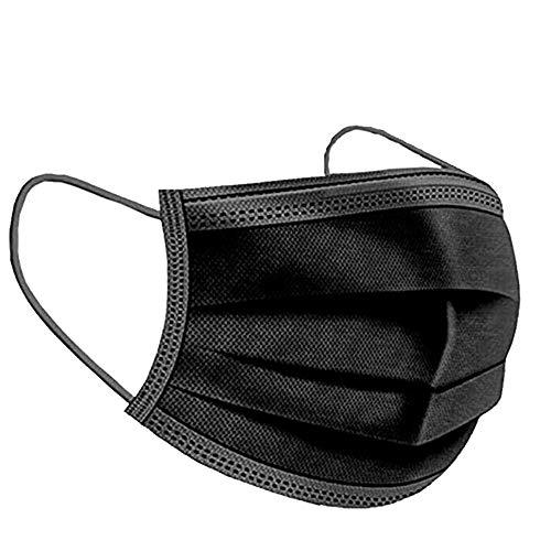 iCOOLIO Mund und nasenschutz, Masken mundschutz, mundschutz maske, einwegmasken, Mund nasen schutzmaske, Gesichtsmaske einweg, einmalmasken 50 Stück schwarz