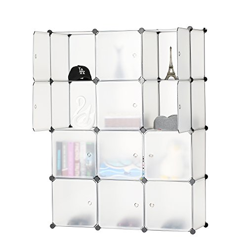 BASTUO 12-Cube DIY Storage Cube Cabinet Plastic Modular Organizer Bookcase Shelves Organizer Closet with Door,110(L) X 37(W) X 145(H) cm,White