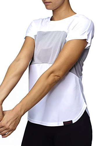 Sundried Womens Yoga Palestra Fitness Top Work out Training T-Shirt (Bianco, M)