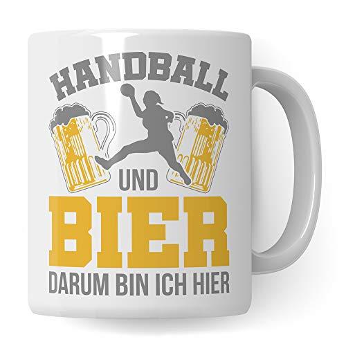 Pagma Druck Handball & Bier Tasse, Handball Geschenke, Handballerin Becher, Handballer Spruch Kaffeetasse Geschenkidee, Handballspieler Kaffeebecher Handballverein Handballer
