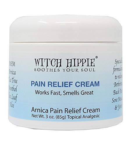 Witch Hippie Pain Relief Cream, Arnica Montana Pain Relief Cream, Muscle Recovery Cream, Best Muscle Pain Relief Cream, Bug Bite Relief Cream Works Fast & Smells Great 3oz Jar