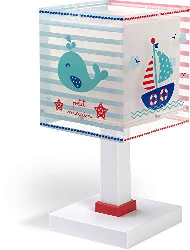 Dalber Lámpara Mesita Infantil Marinero Barco Petit Marin, Azul, 13.5 x 13.5 x 29 cm