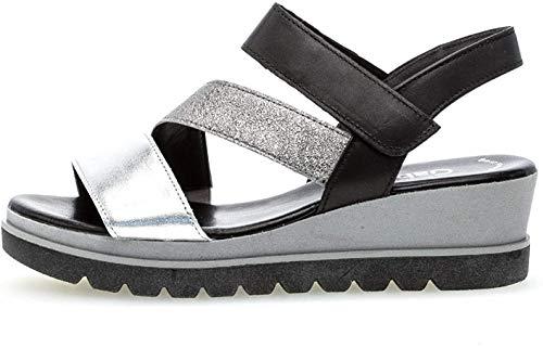 Gabor 23.641 Damen Sandalen,Keilsandalen, Frauen,Keilabsatz-Sandaletten,Keilsandaletten,Sommerschuh,flach,Best Fitting,Silber/Stone/schw,7 UK