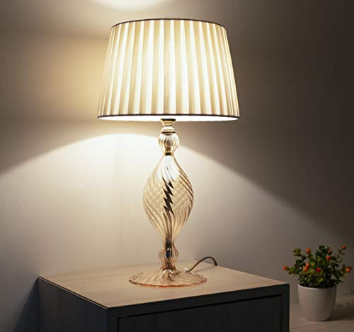 Olivia: Lámpara de mesita de noche elegante de cristal soplado ámbar para dormitorio y salón, estilo contemporáneo con pantalla de color marfil hecha a mano