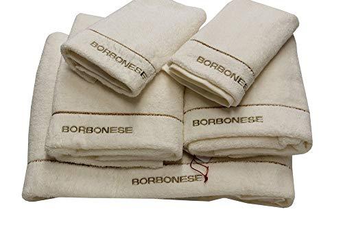 Borbonese Set 5 asciugamani art. Fine Op (2 coppie spugna + 1 telo) (Avorio)