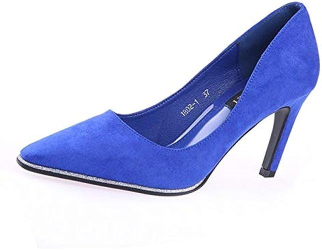YMFIE Européenne rétro en Daim Peu Profonde la Mode Confortable à Talons Hauts Unique Chaussures Chaussures de Travail Chaussures de soirée