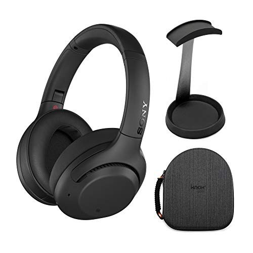 Sony WH-XB900N Extra BASS Wireless Noise Cancelling Headphones (Black) with Hardshell Headphone case and Aluminum Headphone Stand Bundle
