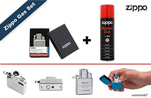 Zippo Butane Gas Insert-Single Flame Lighter Sturmfeuerzeug mit Jet Flamme (Stahl) + 250 ml Zippo Gas Butan