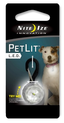 Nite Ize PetLit LED Collar Light, Dog Or Cat Collar Light, Replaceable Batteries, White LED Jewel Design