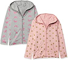 SOUTH SAILOR Girls Hooded Sweatshirt Pack of 2 Pink and Grey Color