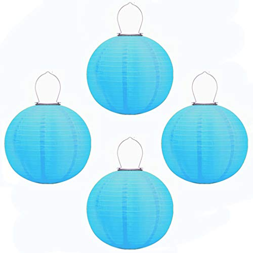 Obell 4 Pack 12 inch Solar Chinese Lanterns Nylon Lantern Outdoor Waterproof Solar Powered LED Hanging Lantern for Garden Yard Pathway Festival Party Wedding Decorations (Blue-4)