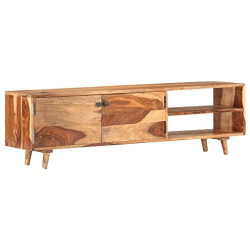 vidaXL Sheesham-Holz Massiv TV Schrank mit 2 Türen 2 offenen Fächern TV Möbel Lowboard Fernsehschrank Fernsehtisch Sideboard HiFi-Schrank 140x30x40cm