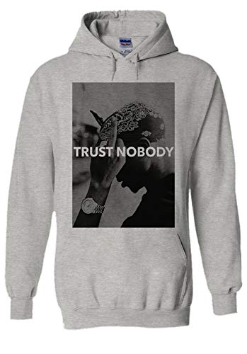 Tupac Makavelli Trust Nobody Hip Hop Novelty Grey Men Women Unisex Hooded Sweatshirt Hoodie-M