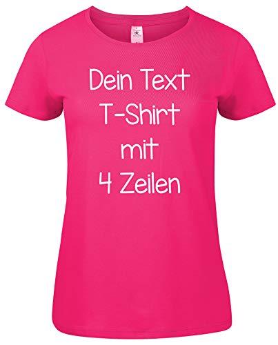 Damen T-Shirt Rundhals Bedrucken mit dem Amazon Tshirt Designer. T-Shirt selber gestalten. T-Shirt Druck. T-Shirt mit Wunschtext. T Shirts sind Ökotex-100 Zertifiziert. Pink XL