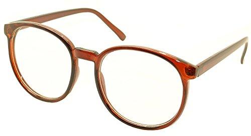FancyG Retro Vintage Inspired Classic Nerd Round Clear Lens Glasses Eyewear - Brown