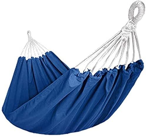 LSWY Amaca da Campeggio in Puro Cotone, amache a Colori Solidi per Cortile per Esterno Patio (Colore Rosso, Dimensioni: 190x130 cm) (Color : Blue, Size : 190X130cm)