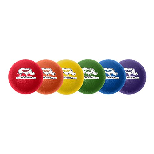 Champion Sports Rhino Skin Dodgeballs: 7 Inch Balls for Playground, PE, Backyard & League Games - Team Sports Equipment for Kids or Adults - Set of 6