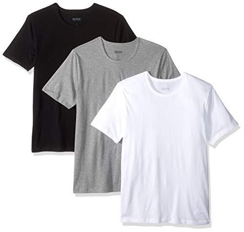 HUGO BOSS Men's 3-Pack Round Neck Regular Fit Short Sleeve T-Shirts, White/black/Gray, M