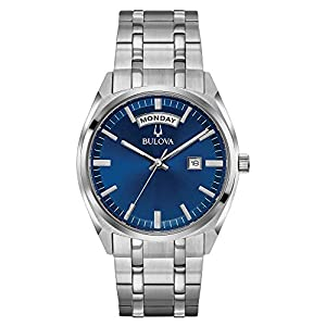 Bulova Men's Classic Quartz Watch with Stainless-Steel Strap, Silver, 22 (Model: 96C125) from Bulova Corporation