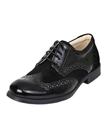 Jungen Lack-und Wildleder Brogues Formell Hochzeit Oxford Kinder Schuhe, EU 35
