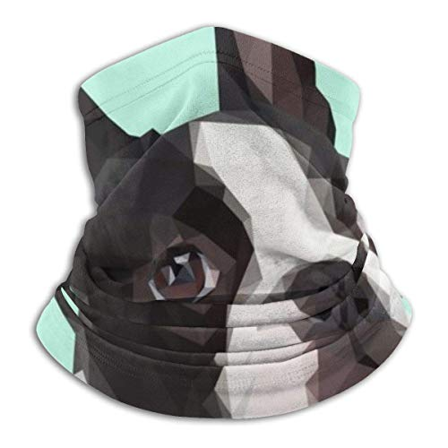 Not Applicable Half Face Scarf,Funny Boston Terrier Dog Black Neck Scarf Washable for Ride Headwear Face 25x30cm