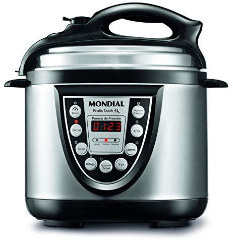 Panela de Pressão Elétrica Mondial, Pratic Cook 4L Premium, 127V, Preto/Prata, 800W - PE-09