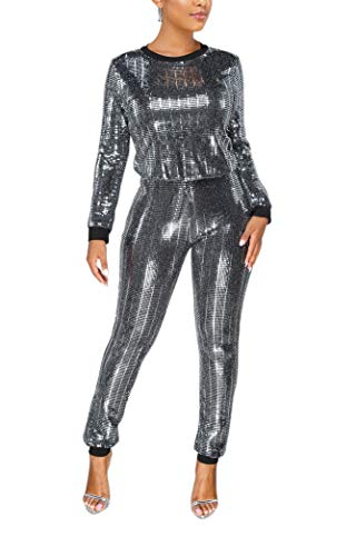 EOSIEDUR Womens 2 Piece Outfits & Sexy Silver Glitter Sequins & Metallic Shiny Top and Pants Two Piece Set Silver & Black L