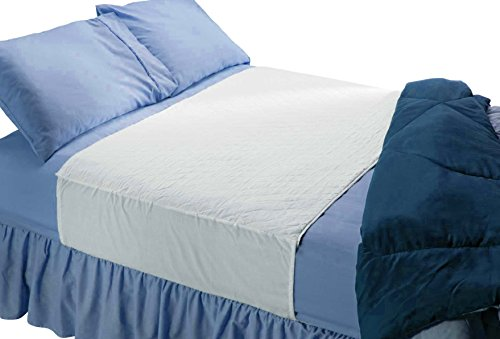 Saddle Style Absorbent Bed Pad with Tuck-in Sides (34 x 52 Inch) - Waterproof Washable 300x for Incontinence Tuckable Reusable Underpad Protection (Full, Queen) - Baby, Child, Adult - Sequoia Health