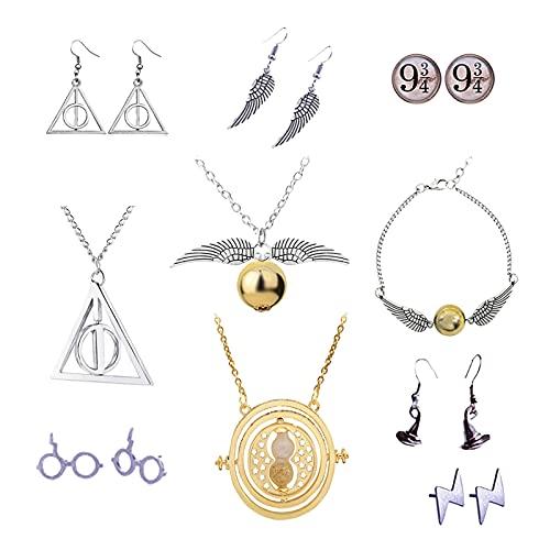 Zaky 10 piezas Juego de Collares con Forma de Serpiente Dorada para los Fans Conjunto de Aretes con Aretes de colección de Regalos mágicos para Cosplay joyería para Mujer y niña