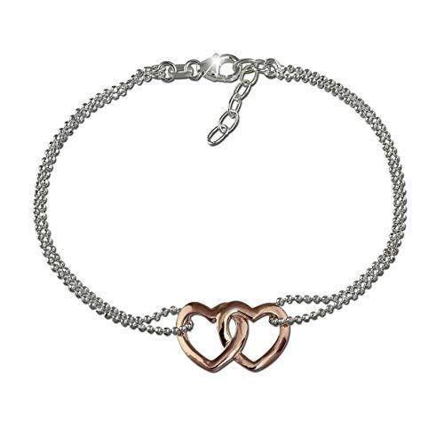 SilberDream Armband rose Doppelherz 925er Silber 18cm poliert Damen D2SDA2158T ein schönes Geschenk zu Weihnachten, Geburtstag, Valentinstag für die Frau