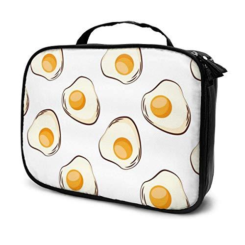 Lawenp Eier gebratenes Frühstück Lebensmittel Make-up Zugkoffer Professionelle Reise Make-up Tasche Kosmetikkoffer Organizer Tragbare Aufbewahrungstasche für Kosmetik Make-up Pinsel Toilettenartikel