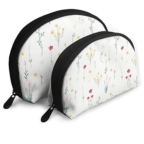 Sac de Maquillage Floral Sacs de Voyage Petit Sac de Coquille Pochette d'embrayage de Toilette Portable 2Pcs