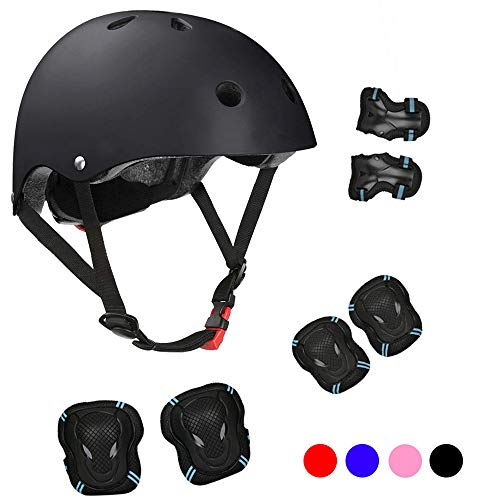 Kids Bike Helmet Sports Protective Gear Set for 3-13 Years Boy Girl Adjustable Toddler Youth Cycling Helmet with Knee Elbow Wrist Pads Skateboard Helmet CPSC Certified (Black)