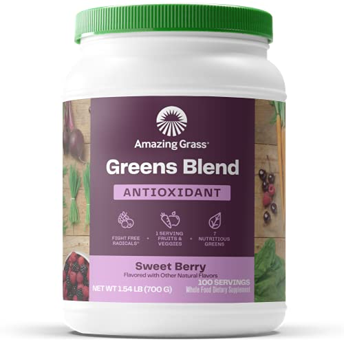 Amazing Grass Greens Blend Antioxidant: Super Greens Powder with Spirulina, Beet Root Powder,Elderberry & Probiotics, Sweet Berry, 100 Servings (Packaging May Vary)