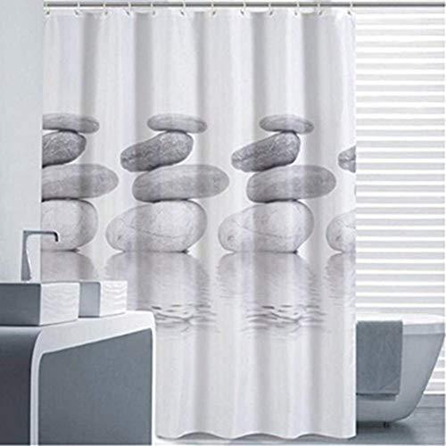 Goldbeing Duschvorhang 120x180 Textil Grau Pebble Schimmelresistenter & Wasserabweisend Shower Curtain mit 12 Duschvorhangringen