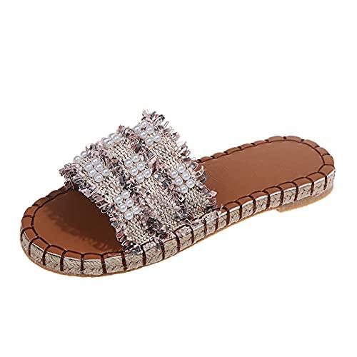 Luckycat Sandalias y Pantuflas Romanas de Playa de Perlas Sin Cordones para Mujer Zapatillas de Una Palabra Transpirables con Punta Abierta de Moda de Verano