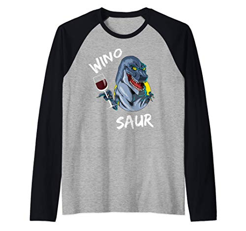 Dinosaurio Dinosaurio Vino Bebiendo Vino Dinosaurio Camiseta Manga Raglan
