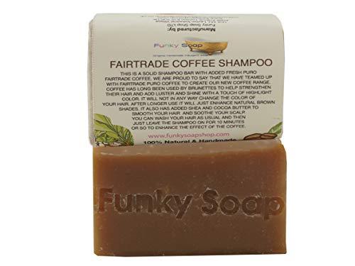 Funky Soap Fairtrade Kaffee Festes Shampoo 100% Natürlich Handgemacht, 1 Stück 65g