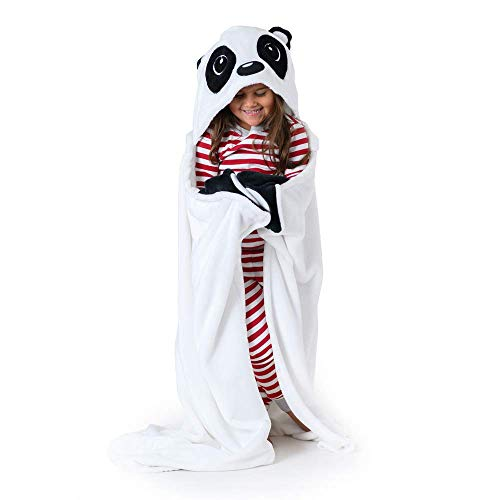 Canoogles Panda Wearable Hooded Blanket for Kids | Super Soft & Cozy with Corner Hand Pockets | Machine Washable | 40 H x 50 W, One Size