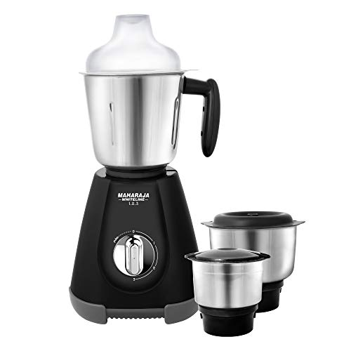 Maharaja Whiteline 1.2.3 Mixer Grinder 500-Watt Mixer Grinder with 3 Jars Black-Grey...