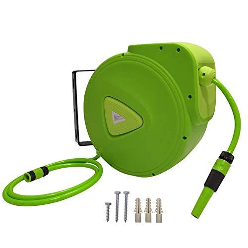 """Froadp Automatisch 180° Schwenkbare Schlauchtrommel Mobil Schlauchbox 3/4\"""" Anschluss Schlauch Aufroller mit Schlauchstopp und Schnell-Verschlusskupplung für Garten Camping (30m)"""
