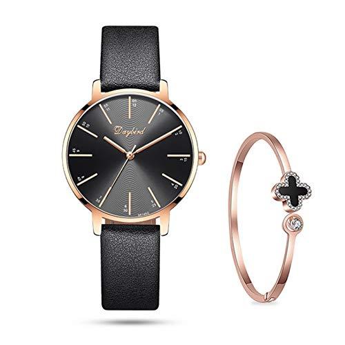 QHG Reloj de Mujer Relojes Femeninas Fashion Fashion Reloj de Mujer Vestido Niñas Analógica Movimiento de Cuarzo Correa de Cuero Pink/Purple/Negro/Oro (Color : B, Size : 32MM)