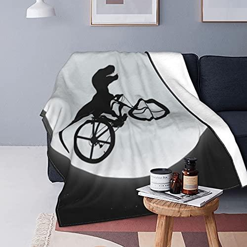 Manta de forro polar con diseño de dinosaurios para montar en bicicleta a la luna, manta versátil y suave para cama y sofá, de viaje, 150 x 100 cm