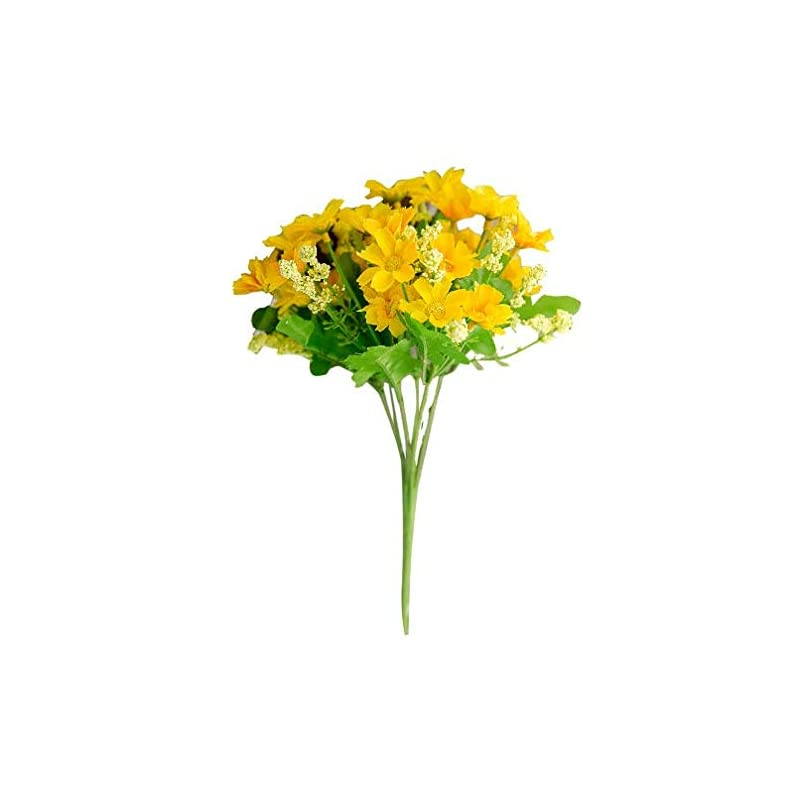 silk flower arrangements hl technology 3pieces/lot bright colorful windowsill artificial flowers life inspiration small bouquet of chrysanthemum multi colors choosable (yellow)